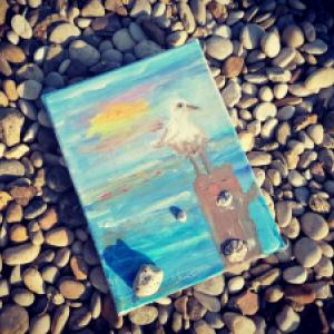 Čary čmáry s deťmi ♥ Temperová maľba ČAJKA   Autor 5 ročný Kevinko za asistencie maminy