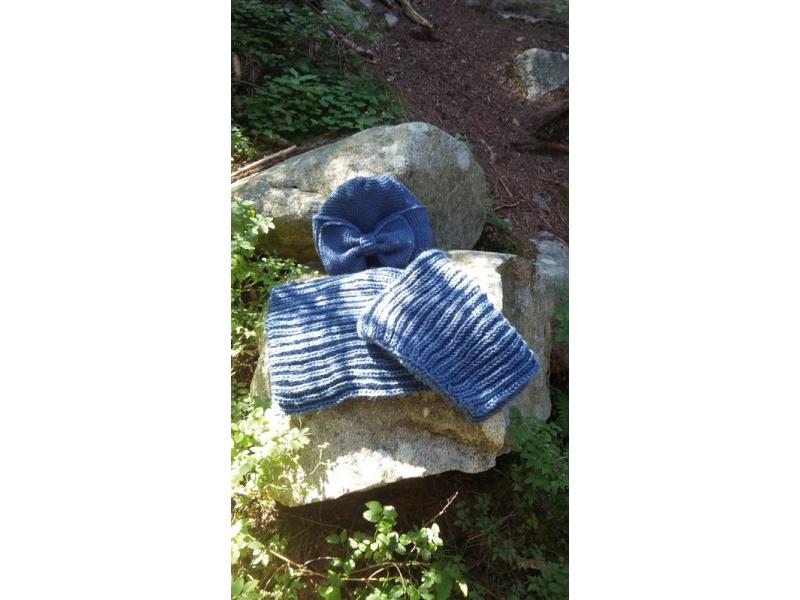 Pletená čelenka s mašľou ,,Jeans blue