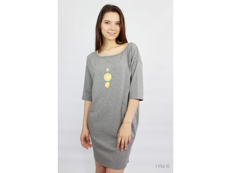 3a2cf344cf ... Dámske šaty s vreckami sivé z úpletu M15 IO18
