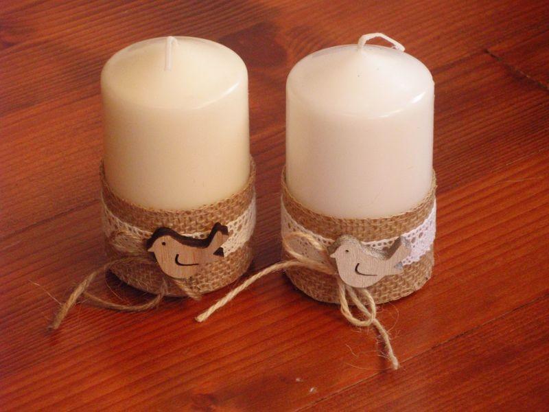 Veĺkonočné jutové sviečky s vtáčikom 10cm