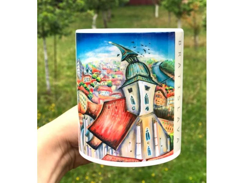 Keramická šálka BRATISLAVA   ručne potlačená farebnou grafikou