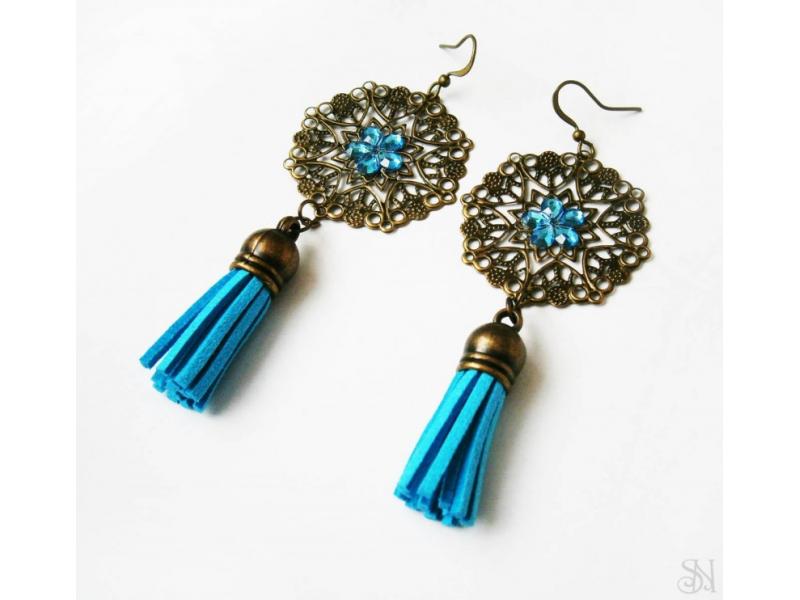 Orientálne modré náušnice so strapcami a kamienkami