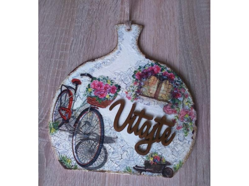 Dekoračný lopárik - Bicykel s košíkom plným ruží