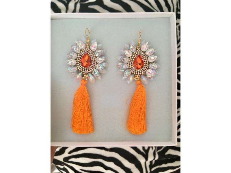 Strapcové náušnice - Orange