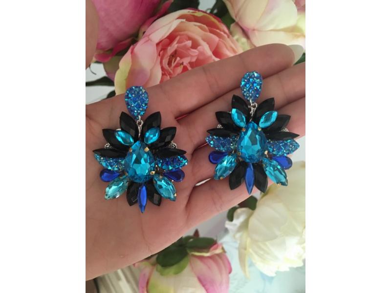 Náušnice - Blue and black