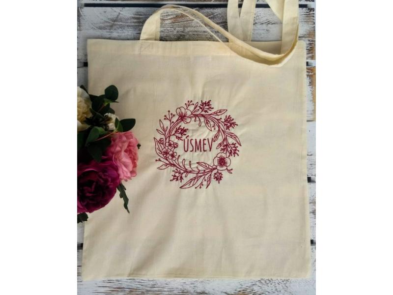 Kvalitná bavlnená taška...Úsmev