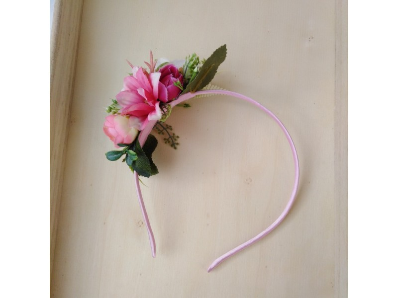 Kvetinová čelenka pink