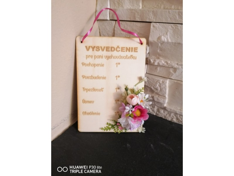 Kvetinove vysvedčenie pre uciteľku, učiteľa, vychovávateľku