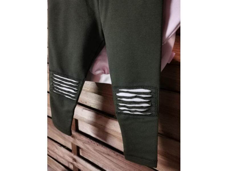 Detské teplaciky -legíny - zelená kaki