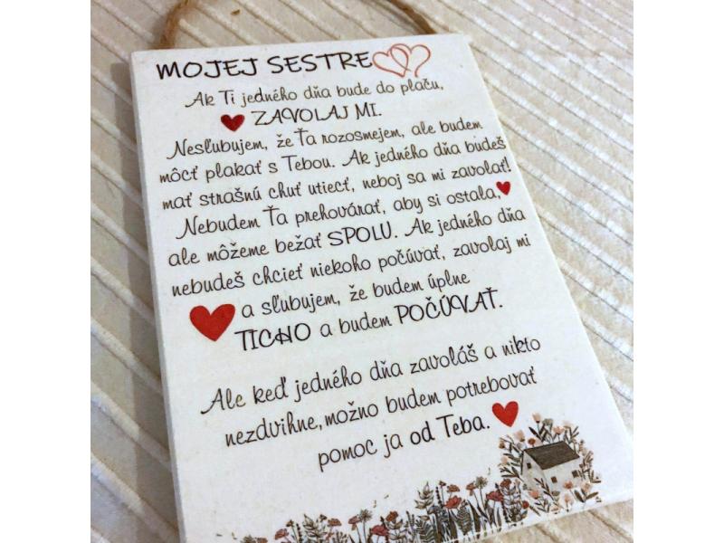 Devená tabuľka pre sestru