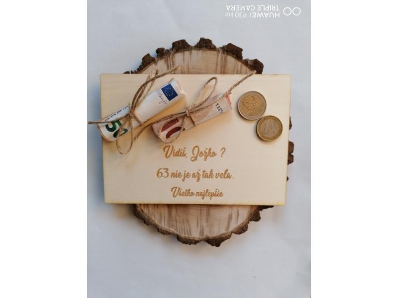 drevené pohľadnice na finančny dar k narodeninám