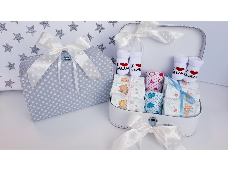 Bimbi plienkový kufrík, plienková torta Twins Sun Mini Hviezdička šedá/chlpaec/dievča