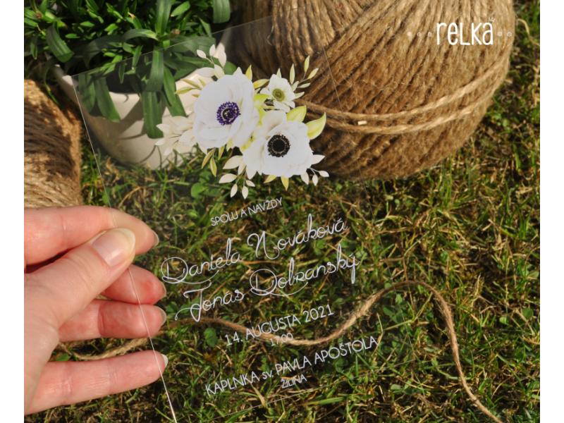 Transparentné svadobné oznámenie