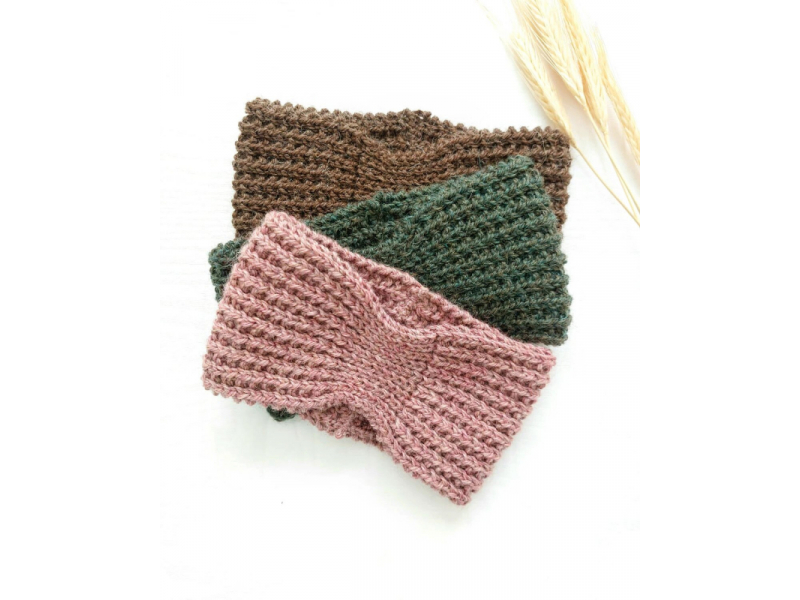Pletená vlnená čelenka - BLUSH