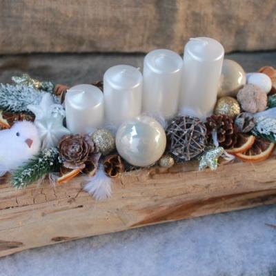 teakové drevo _adventný svietnik