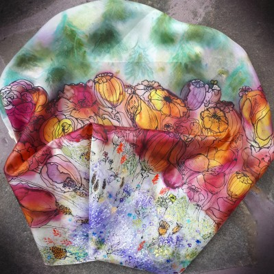 Za kvetinovým lesom-hodvábna maľovaná šatka