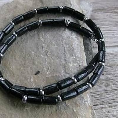 2132)  Pánsky náhrdelník okolo krku drevený - chirurgická oceľ (čierny č.  2132) 00a6b1b4c26
