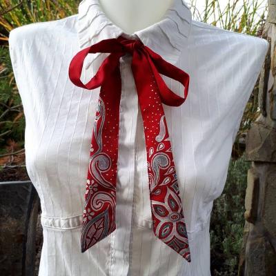Red fantasy-dámska hodvábna maľovaná viazanka