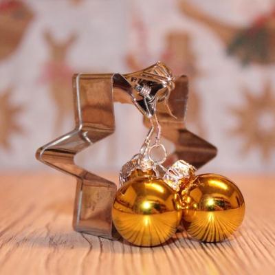 Vianočné náušnice - žlté (lesklé)