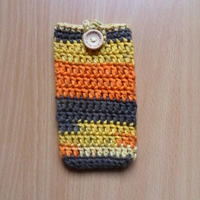 Háčkované púzdro na mobil (oranžovo-žlté)