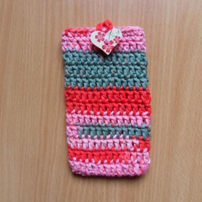 Háčkované púzdro na mobil (ružovo-červené)