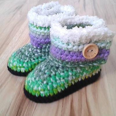 Zelené melírované čižmičky