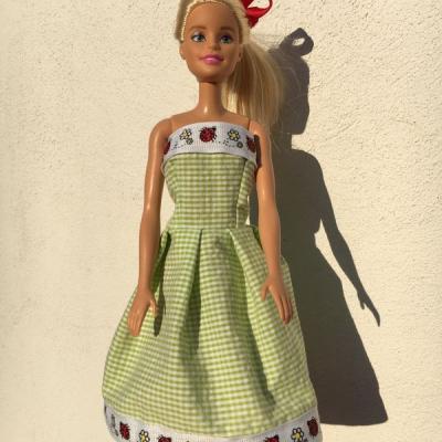 Šaty barbie zelené karo