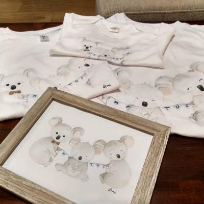 Set rodinné tričká+obrázok v rámčeku