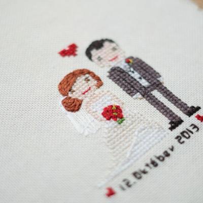Vyšívaný svadobný portrét