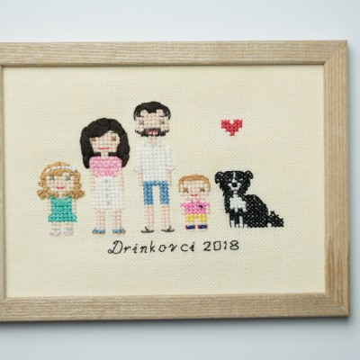 Vyšívaný rodinný portrét