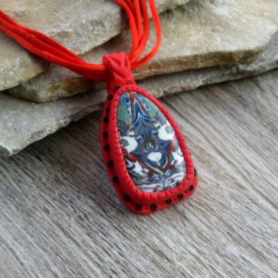 Červený náhrdelník - indiánska mozaika, č. 2575
