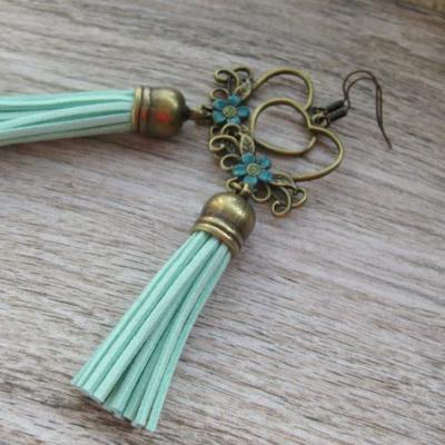 Bronzové náušničky so strapcami (mentolové, č. 2579)