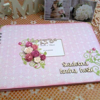 Svadobná kniha hostí ružová nežná