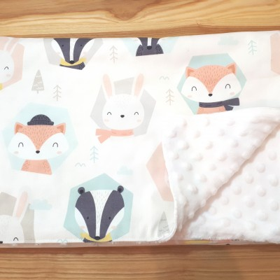 Detská deka zvieratká - biela minka