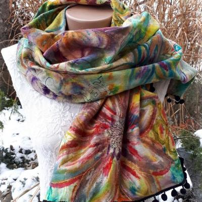 Vôľa k radosti- hodvábny maľovaný šál
