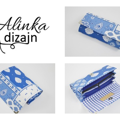 Modro-biela patchworková peňaženka
