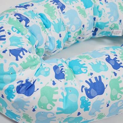 Tehotenský vankúš / Vankúš na dojčenie mentolovo-modrý so sloníkmi