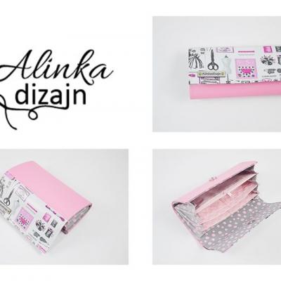 Priehradková peňaženka ružová ekokoža + krajčírske motívy