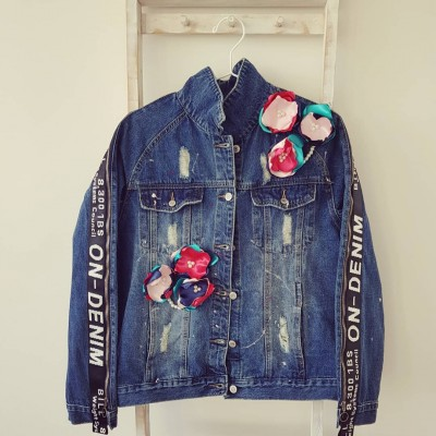 Ručne maľovaná bunda / Flowerky