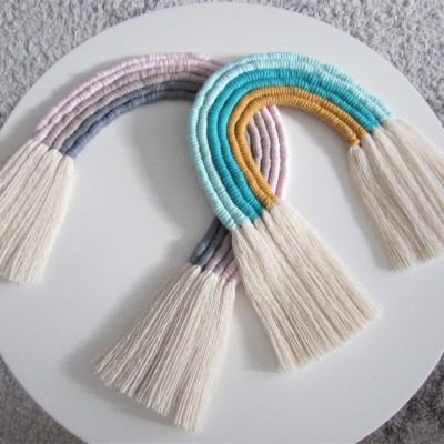 Makramé závesná dekorácia kids rainbow
