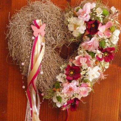 Srdce ružovo-cyklamenové 32cm