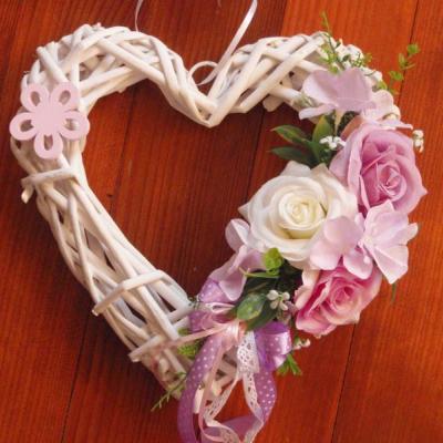 Srdce ružovo- fialkové s kvietkom 25cm
