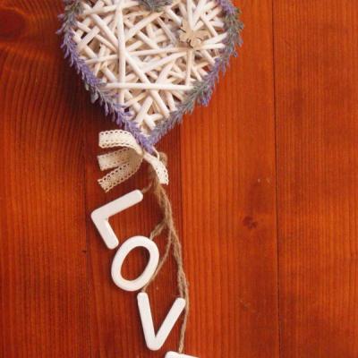 Srdiečko s levanduľou a nápisom LOVE