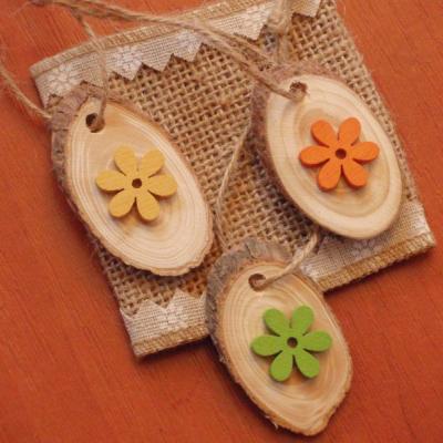 Veľkonočné drevené ozdoby - vajíčka s kvietkom