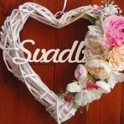 Svadobné srdce v cyklamen, pink, ivory s nápisom 32cm