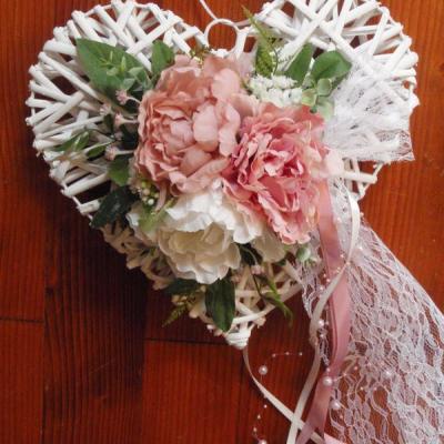 Svadobné staroružovo-ivory srdce 30cm