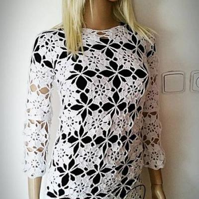 Biela krajková tunika - pulóvrik