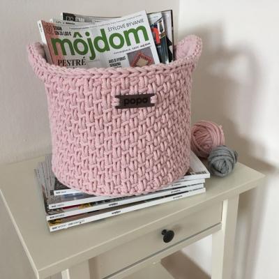 Úložný košík s rúčkami - baby pink