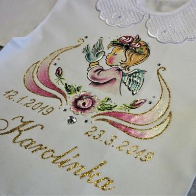 košieľka na krst s anjelikom a holúbkom - ružová/zlatá