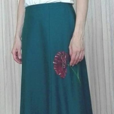 Šesťdielová sukňa maľovaná na jeseň